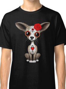 Red Day Of The Dead Sugar Skull Chihuahua Puppy Classic T-Shirt