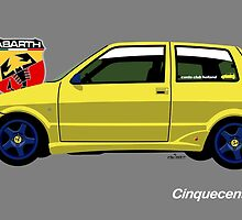 Fiat Cinquecento Sporting - personalized illustration by car2oonz