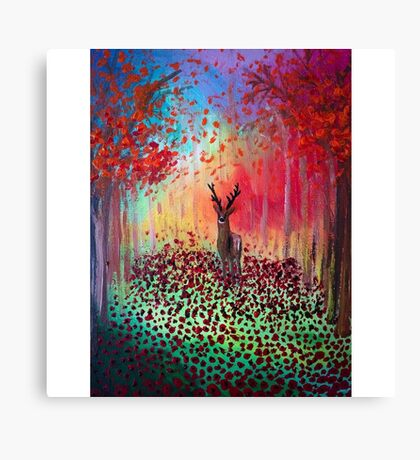 Deer in a poppy field  Canvas Print