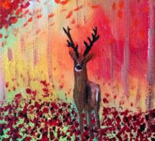 Deer in a poppy field  Sticker