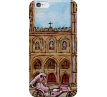 EGLISE NOTRE DAME CHURCH OLD MONTREAL ART CANADIAN PAINTING BY CAROLE SPANDAU CANADIAN ARTIST iPhone Case/Skin