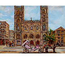 EGLISE NOTRE DAME CHURCH OLD MONTREAL ART CANADIAN PAINTING BY CAROLE SPANDAU CANADIAN ARTIST Photographic Print
