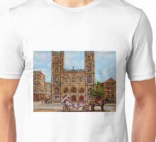 EGLISE NOTRE DAME CHURCH OLD MONTREAL ART CANADIAN PAINTING BY CAROLE SPANDAU CANADIAN ARTIST Unisex T-Shirt