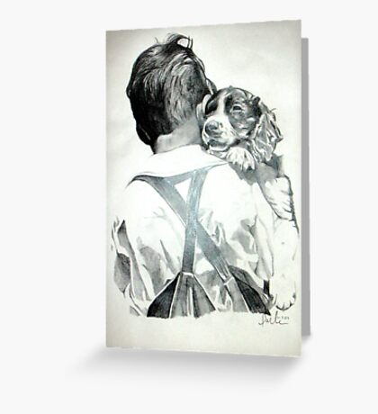 Young Boy with Dog Greeting Card