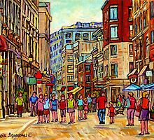 PEOPLE WALKING INTHE CITY OLD MONTREAL SUMMER STREET SCENE PAINTING OF CANADA by Carole  Spandau