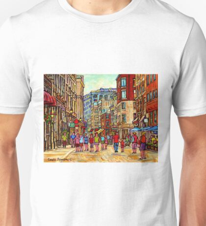 PEOPLE WALKING INTHE CITY OLD MONTREAL SUMMER STREET SCENE PAINTING OF CANADA Unisex T-Shirt
