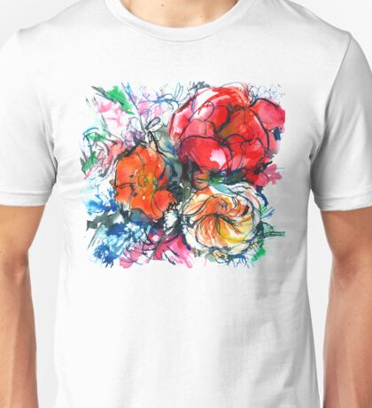 bouquet of peony, ranunculus, poppy, watercolor sketch Unisex T-Shirt