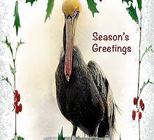 """Pelican """"Season's Greetings"""" ~ Greeting Card by Susan Werby"""