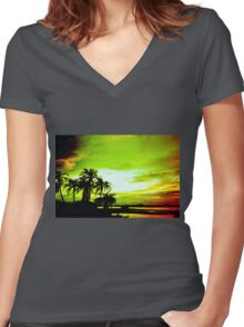 Expressive sky Women's Fitted V-Neck T-Shirt