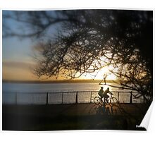 Cycling at sunset  Poster