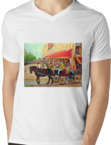 PAINTINGS OF CANADIAN CITY OLD MONTREAL RESTAURANTS AND CALECHE URBAN CITY SCENES  Mens V-Neck T-Shirt