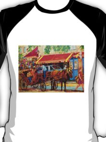 CANADIAN ARTISTS PAINT CANADIAN CITIES OLD MONTREAL OUTDOOR CAFES  T-Shirt