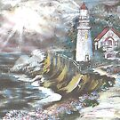 lighthouse on cliff  by the sea by francelle  huffman