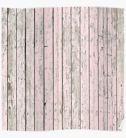 Girly Chic Minimalist Barn Wood Grain Pastel Pink  Poster
