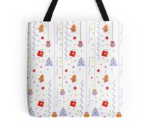 Christmas texture with gifts tree stars snowflakes Tote Bag