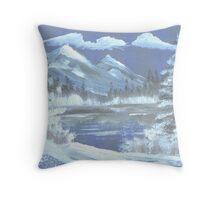 frozen lake and mountain majesty Throw Pillow