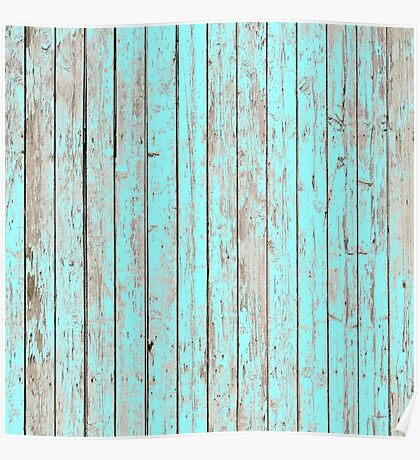 Distressed Shabby chic Pastel Aqua Blue Wood Grain  Poster