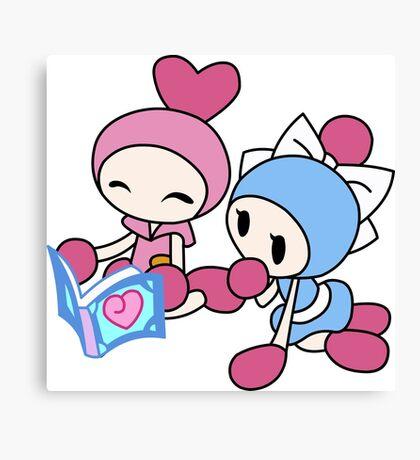 Pink Bomberman + Cyan Bomberman - Super Bomberman R Canvas Print
