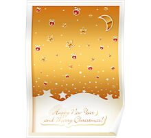 Merry Christmas card with decorations Poster