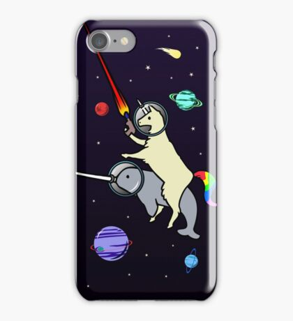Llamacorn Riding Narwhal In Space iPhone Case/Skin