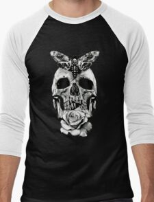 TATTOO - Butterfly on skull Men's Baseball ¾ T-Shirt