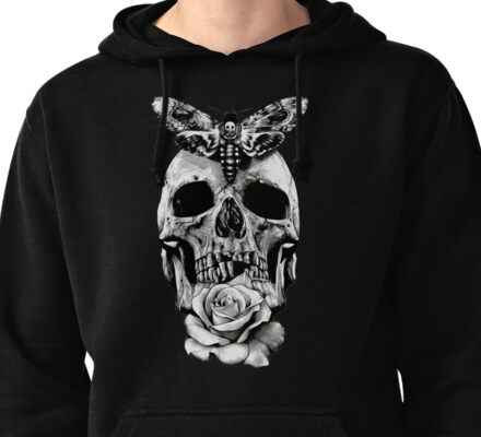 TATTOO - Butterfly on skull Pullover Hoodie