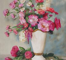 Pink Flowers Oil Painting by Sue Cervenka