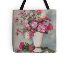 Pink Flowers Oil Painting Tote Bag