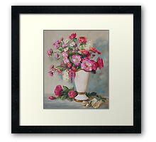 Pink Flowers Oil Painting Framed Print