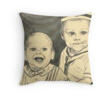 grandchildren TYLER AND AUSTIN portrait in pencil Throw Pillow