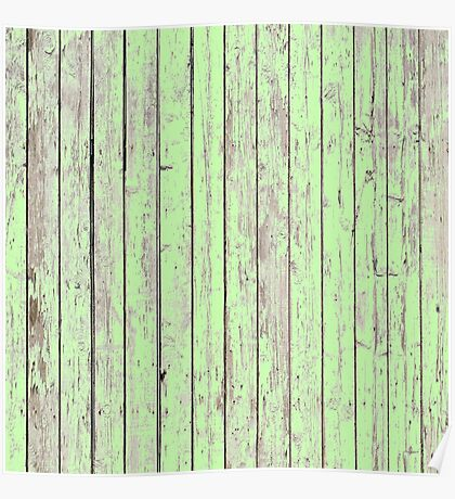 Shabby chic wood grain Spring Pastel mint green  Poster