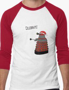 "Festive Dalek -- ""Celebrate!"" Men's Baseball ¾ T-Shirt"