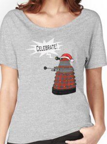 "Festive Dalek -- ""Celebrate!"" Women's Relaxed Fit T-Shirt"