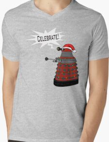 "Festive Dalek -- ""Celebrate!"" Mens V-Neck T-Shirt"