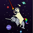 Llamacorn Riding Narwhal In Space by jezkemp