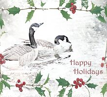 "Nostalgic Geese ""Happy Holidays"" ~ Greeting Card by Susan Werby"