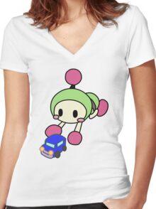 Green Bomberman - Super Bomberman R Women's Fitted V-Neck T-Shirt