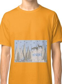 Snow scene with trees and deers Classic T-Shirt