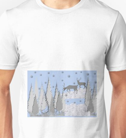 Snow scene with trees and deers Unisex T-Shirt
