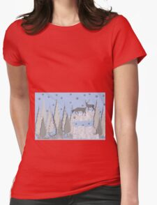 Snow scene with trees and deers Womens Fitted T-Shirt