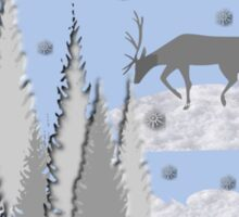 Snow scene with trees and deers Sticker