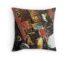 Grecian mobile greengrocer Throw Pillow