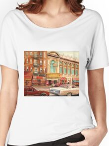 CANADIAN ART CANADIAN PAINTING FAMOUS MONTREAL RIALTO MOVIE THEATRE BY CANADIAN ARTIST CAROLE SPANDAU Women's Relaxed Fit T-Shirt