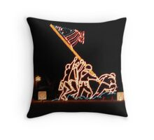 Raising of the American Flag Throw Pillow