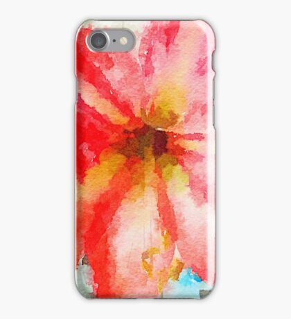 Amaryllis red blossom watercolour  iPhone Case/Skin