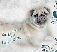 Puggly Wishes for a Happy Holiday ~ Greeting Card by Susan Werby