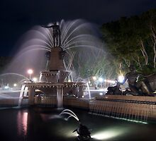 Archibald Fountain at night, Hyde Park, Sydney by Ben Ng