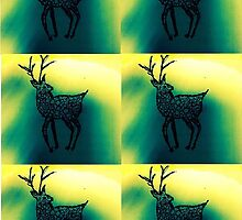 northern lights stag by littlereds