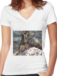 Hungry Cub Women's Fitted V-Neck T-Shirt