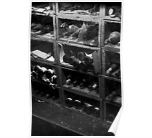 0147 Dusty Old Bottles BW Poster